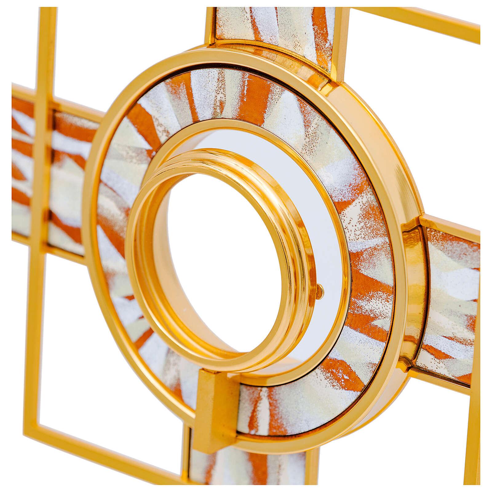 Ostensoir rayons émaillés blancs lunule amovible 65 cm laiton doré 4