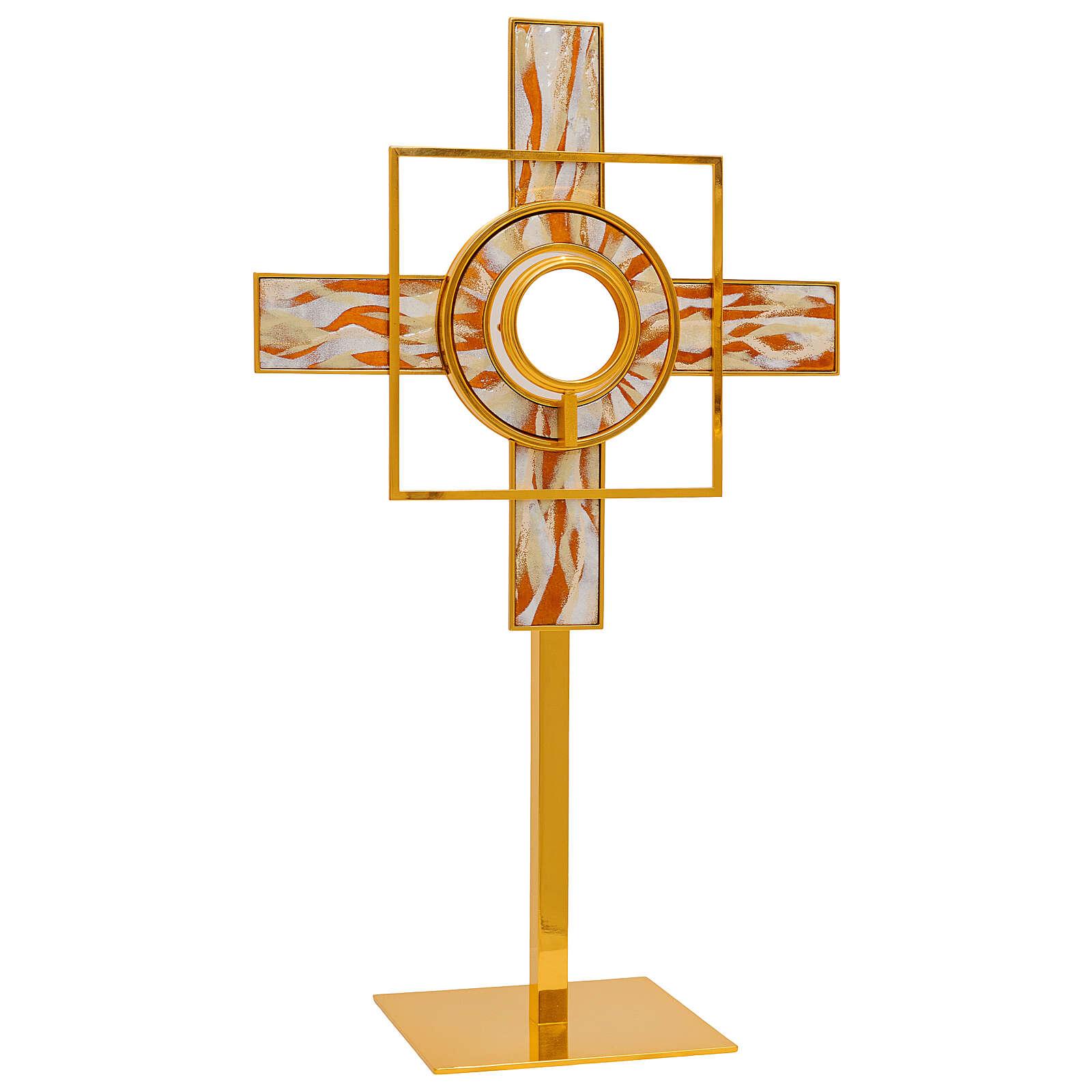 Ostensorio raggi smaltati bianco teca rimovibile 65 cm ottone dorato  4