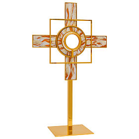 Gold plated brass monstrance white enamelled rays removable luna h 26 in s1