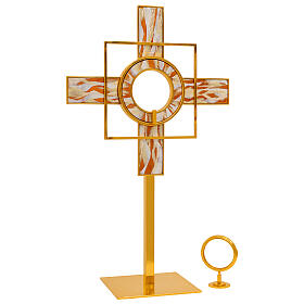 Gold plated brass monstrance white enamelled rays removable luna h 26 in s3