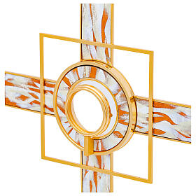 Gold plated brass monstrance white enamelled rays removable luna h 26 in s4
