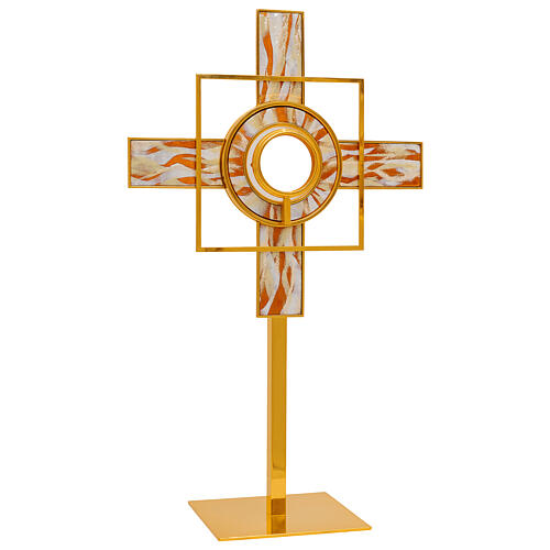 Gold plated brass monstrance white enamelled rays removable luna h 26 in 1
