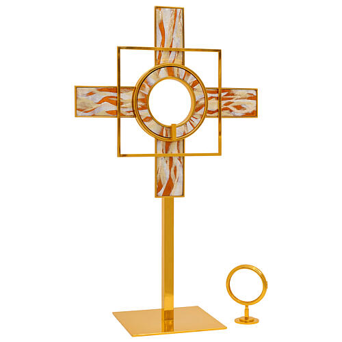 Gold plated brass monstrance white enamelled rays removable luna h 26 in 3