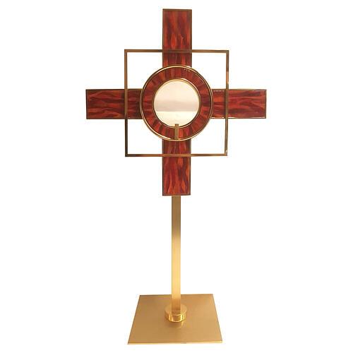Ostensorio smalto rosso forme geometriche ottone dorato 65 cm 1