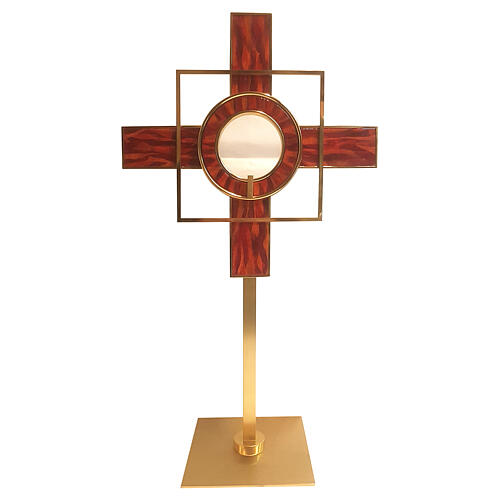 Gold plated brass monstrance red enamel geometric patterns h 26 in 1