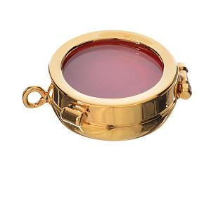 Ostensoirs, Reliquaires  en métal: Reliquaire laiton doré diamètre 3,5 cm