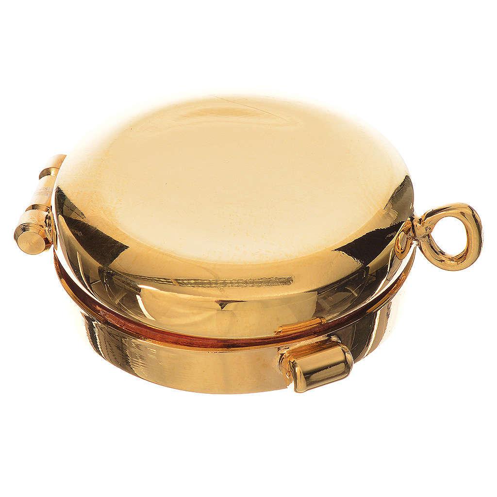 Reliquiario ottone dorato diam. 3,5 cm 4