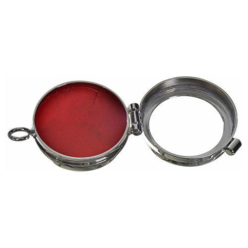 Reliquiario ottone argentato diam. 3,5 cm 2