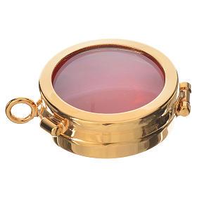 Custódias, Ostensórios, Relicários em Metal: Caixa de relíquia latão dourado diâmetro 4 cm