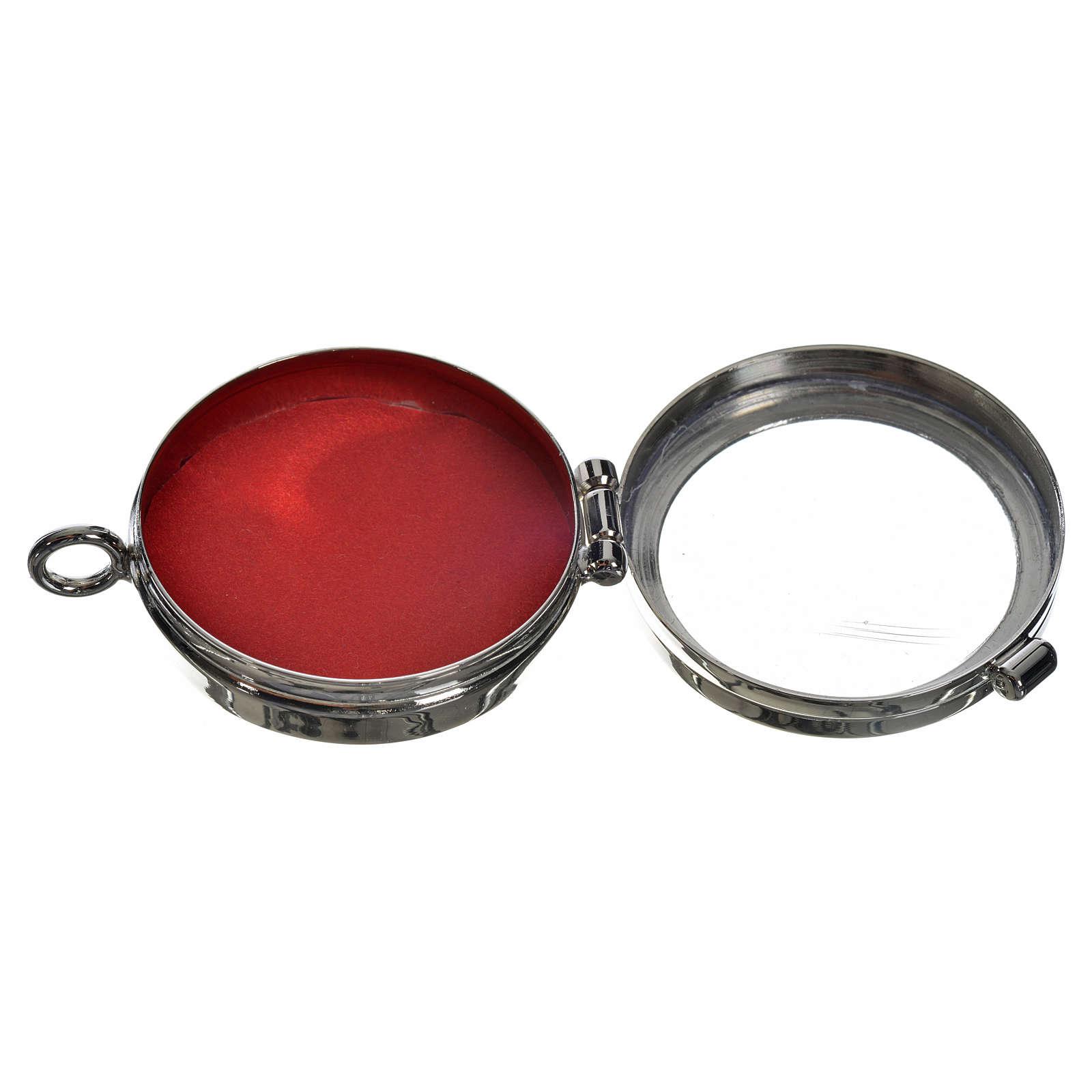 Reliquiario ottone argentato diam. 4 cm 4