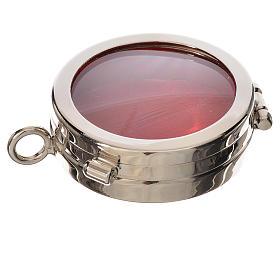 Custódias, Ostensórios, Relicários em Metal: Caixa de relíquia latão prateado diâmetro 4 cm