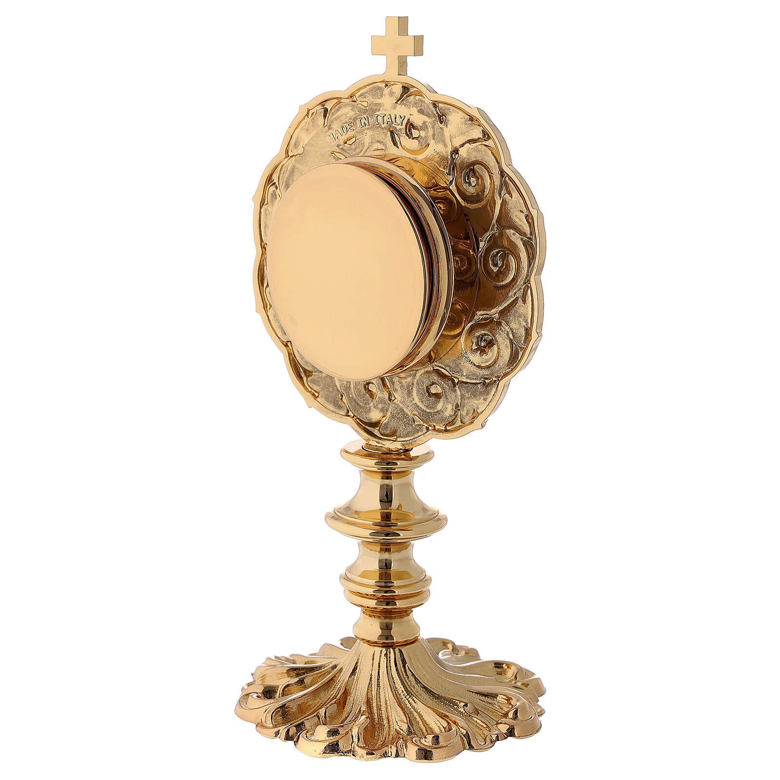 Reliquiario in ottone dorato h 21 cm 4