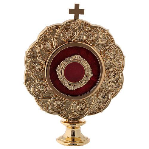 Reliquiario in ottone dorato h 21 cm 2