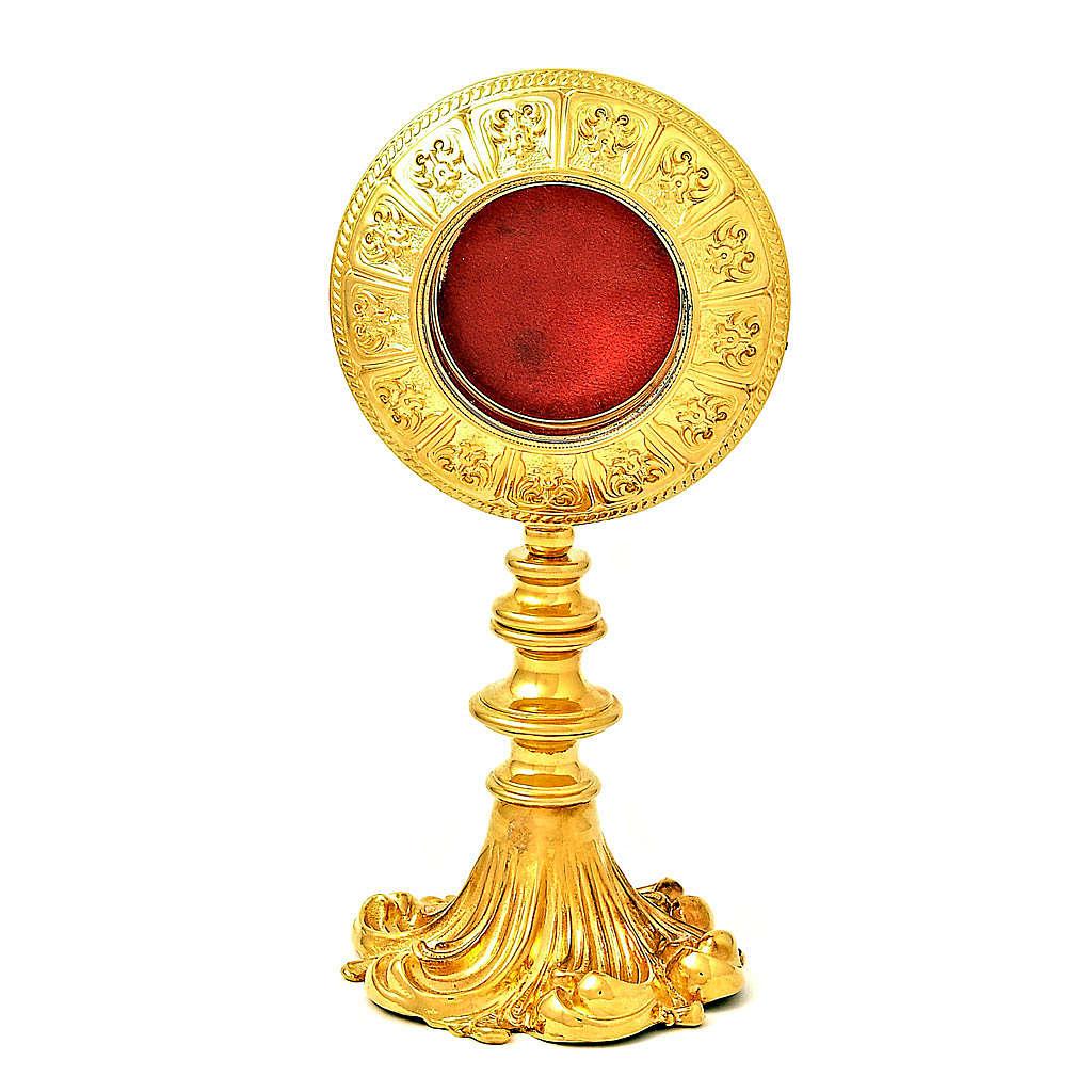 Reliquiario ottone dorato h 21 cm 4