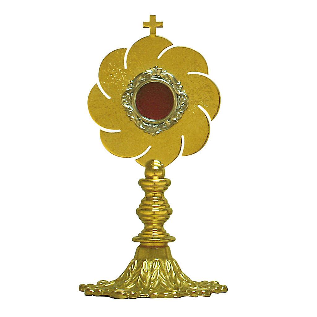 Relicario en latón dorado h. 14 cm. viril 2 cm. diámetro 4