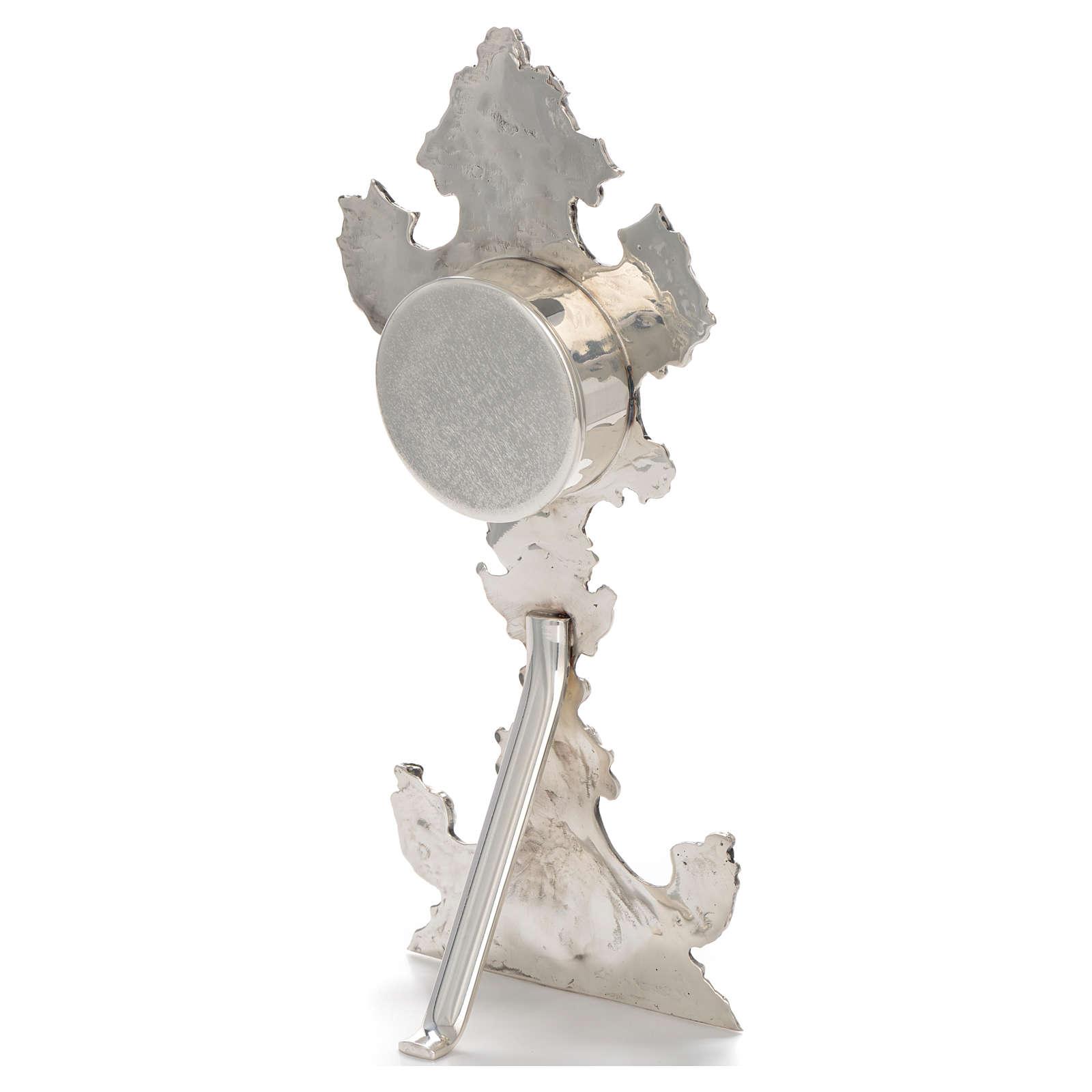 Reliquiario ottone argentato h 30 cm portareliquie 6,5 cm 4