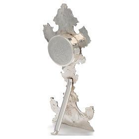 Reliquiario ottone argentato h 30 cm portareliquie 6,5 cm s2