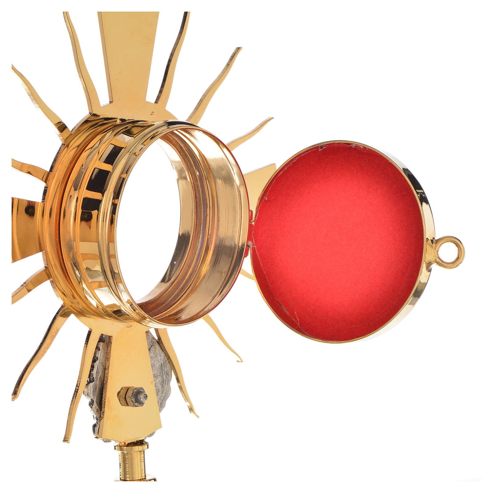 Portareliquia ottone dorato, putto argentato h20cm 4