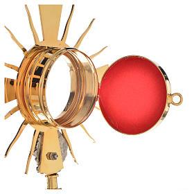 Portareliquia ottone dorato, putto argentato h20cm s3