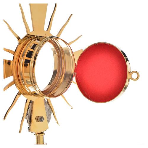 Portareliquia ottone dorato, putto argentato h20cm 3