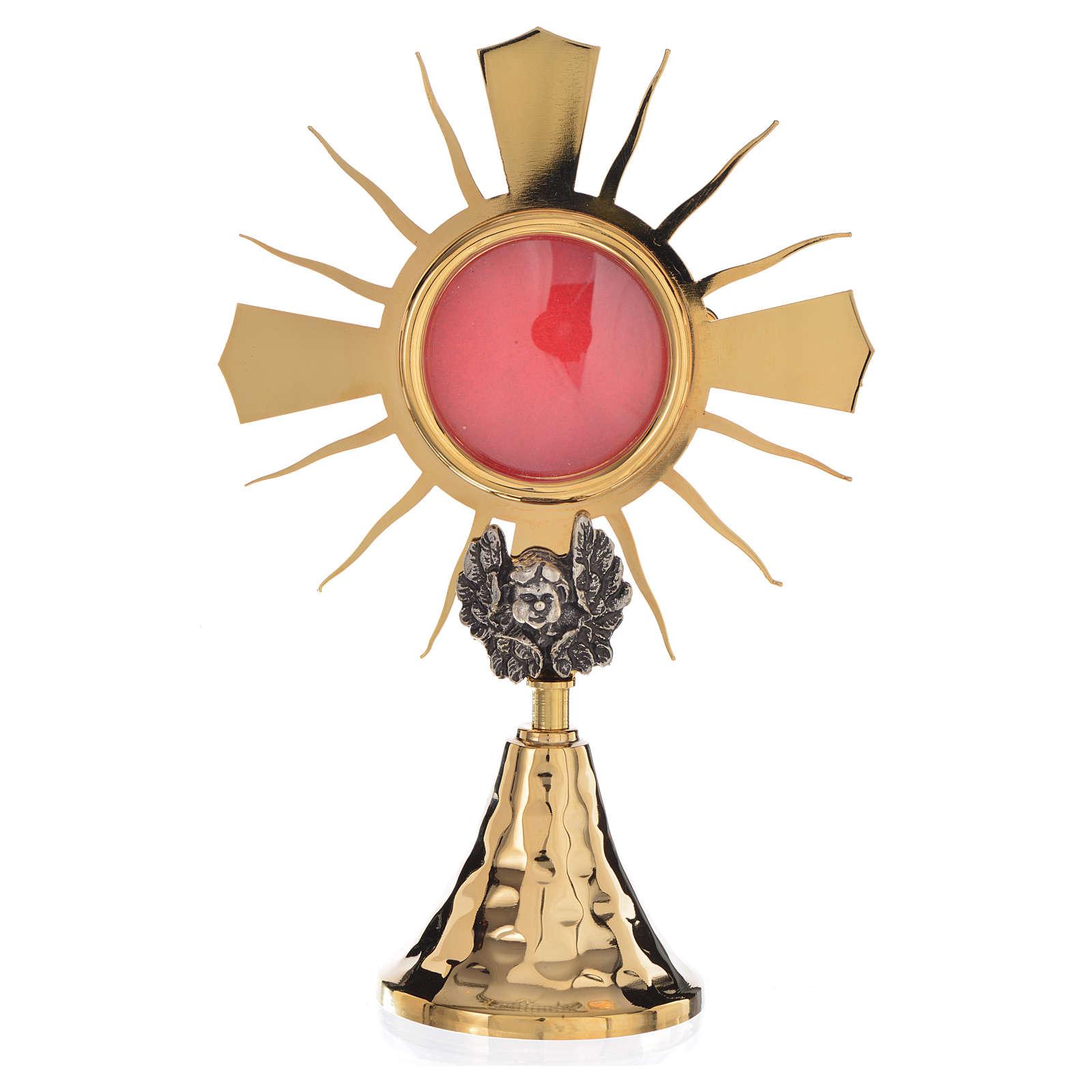 Pojemnik na relikwie złocony mosiądz putto posrebrzany h 20 cm 4