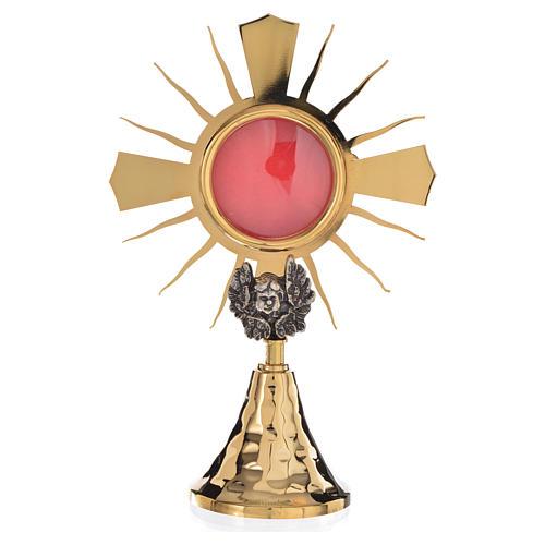 Pojemnik na relikwie złocony mosiądz putto posrebrzany h 20 cm 1