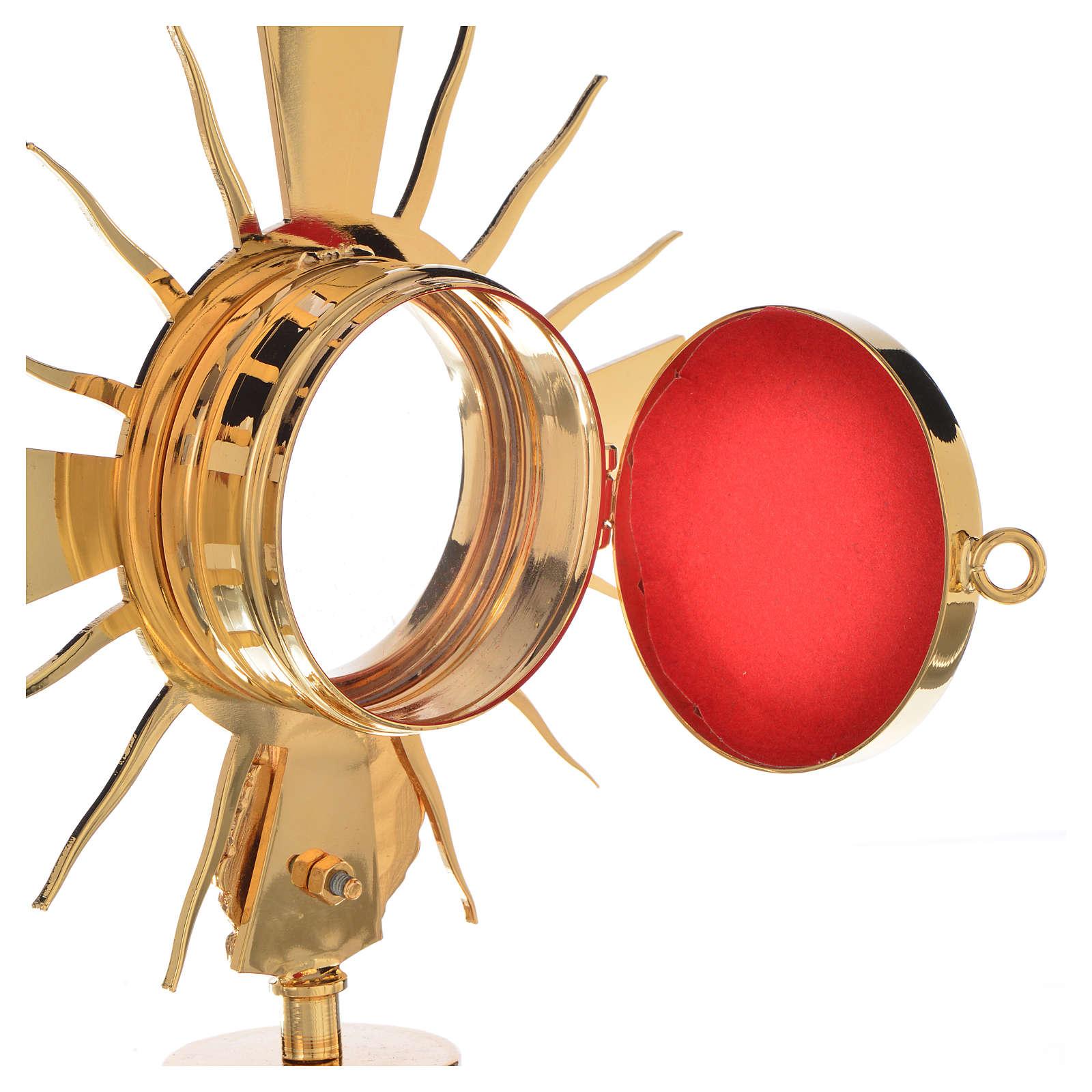 Portareliquia ottone dorato con putto h 17 cm 4