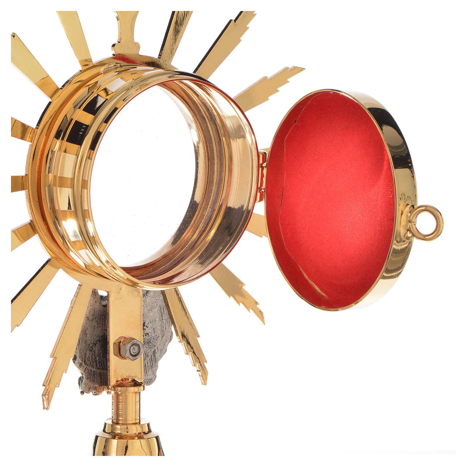 Reliquiario in ottone dorato con putto h 21 cm 4