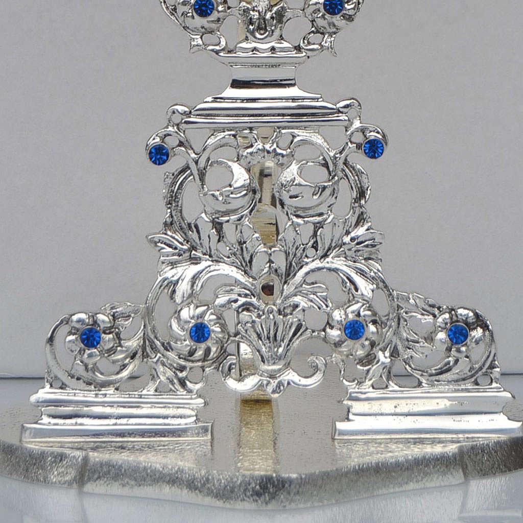 Reliquiario ottone fuso argentato h 42 cm pietre blu 4