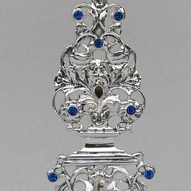 Reliquiario ottone fuso argentato h 42 cm pietre blu s3