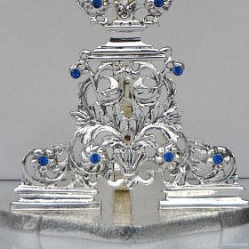 Reliquiario ottone fuso argentato h 42 cm pietre blu s4