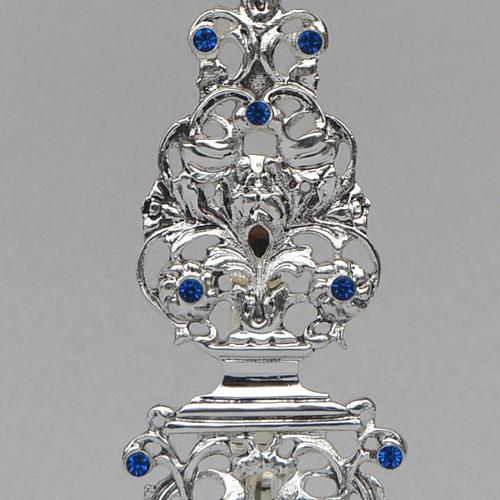 Reliquiario ottone fuso argentato h 42 cm pietre blu 3