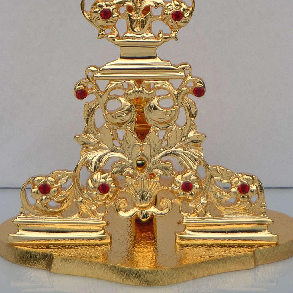 Reliquiario ottone fuso dorato h 42 cm pietre rosse 4