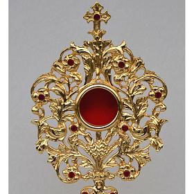 Reliquiario ottone fuso dorato h 42 cm pietre rosse s2