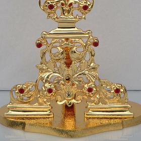 Reliquiario ottone fuso dorato h 42 cm pietre rosse s4