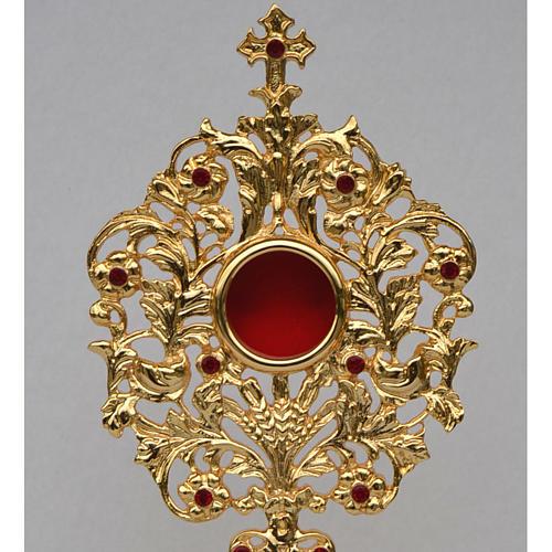 Reliquiario ottone fuso dorato h 42 cm pietre rosse 2