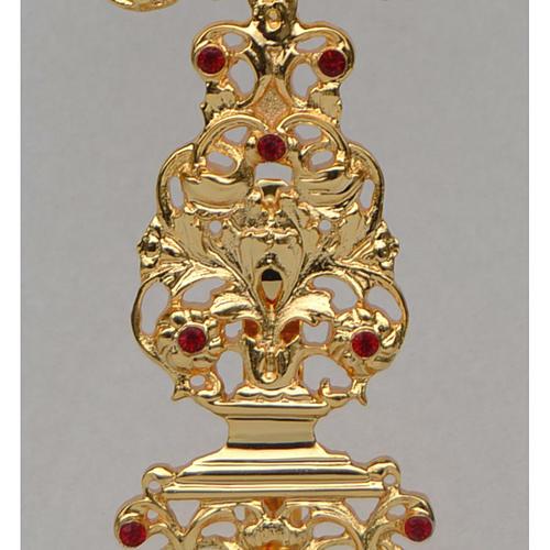 Reliquiario ottone fuso dorato h 42 cm pietre rosse 3