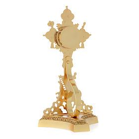 Relikwiarz Świętego Krzyża odlew mosiądzu złoty s4