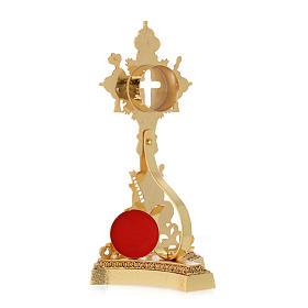 Relikwiarz Świętego Krzyża odlew mosiądzu złoty s5