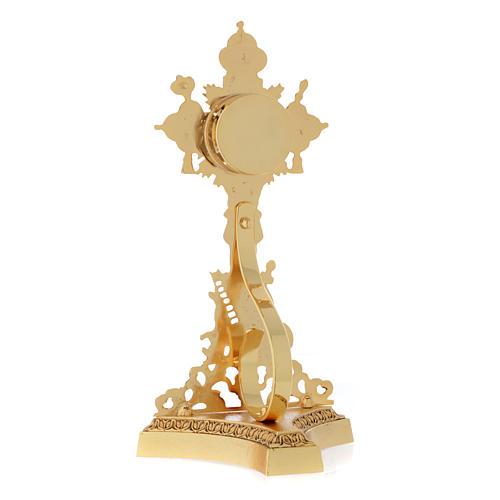 Relikwiarz Świętego Krzyża odlew mosiądzu złoty 4