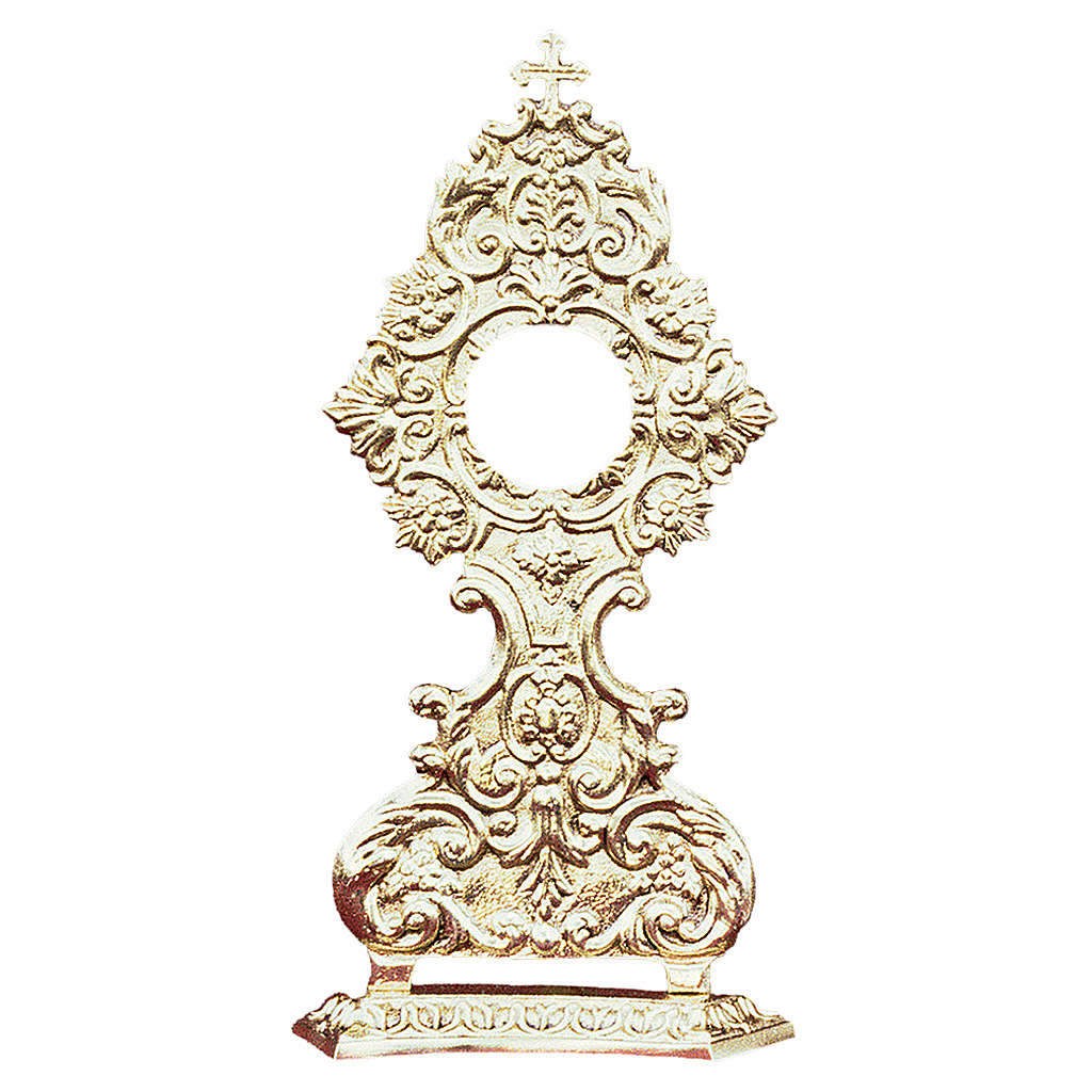 Reliquiario in ottone fuso oro croce e decorazioni 4