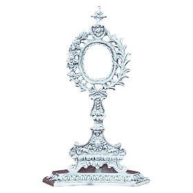 Reliquiario in ottone fuso argento fiori e foglia s1