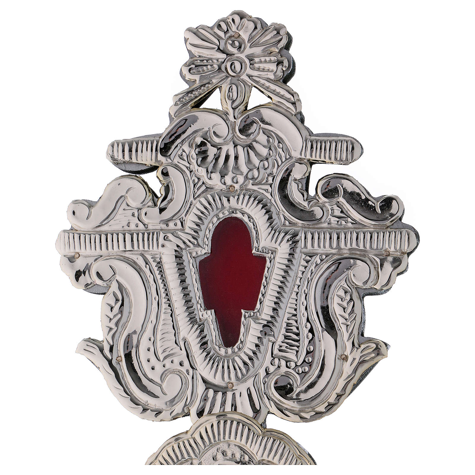 Reliquary with silver-plated metal cross h 40 cm 4
