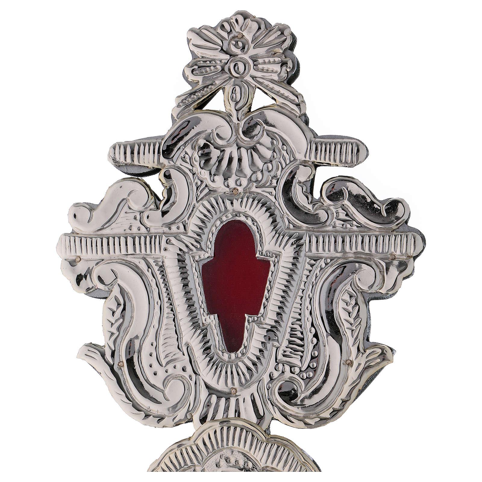 Relicário com cruz metal prateado h 40 cm 4