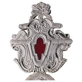 Relicário com cruz metal prateado h 40 cm s2