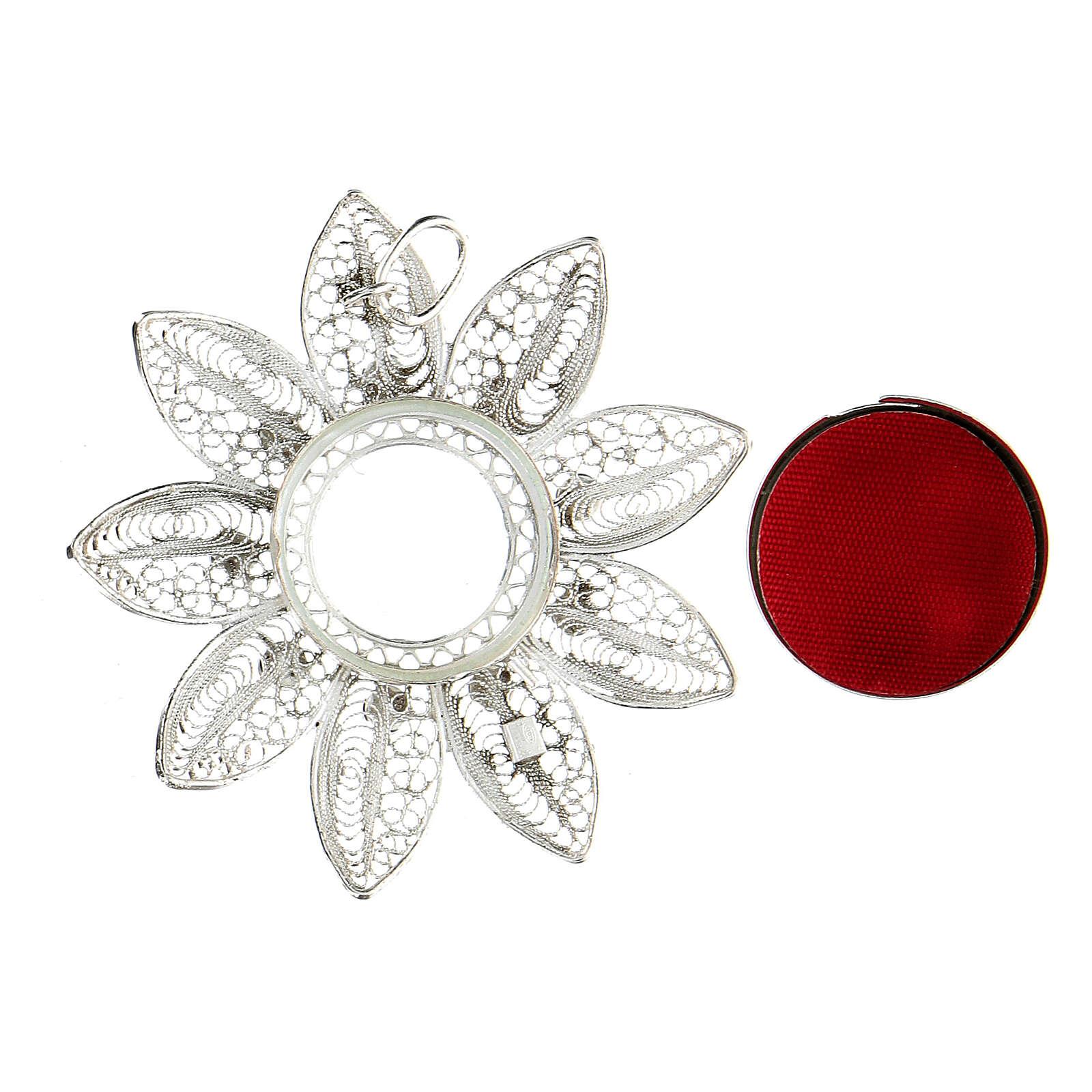 Relicario 5 cm plata 925 con piedras rojas 4