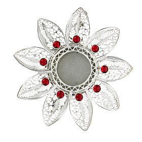 Relicario 5 cm plata 925 con piedras rojas s1
