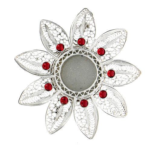 Relicario 5 cm plata 925 con piedras rojas 1