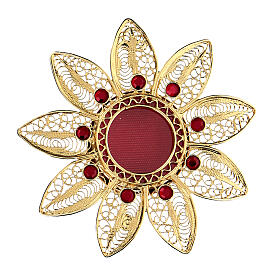 Relicario 5 cm en forma de flor plata dorada piedras rojas s1