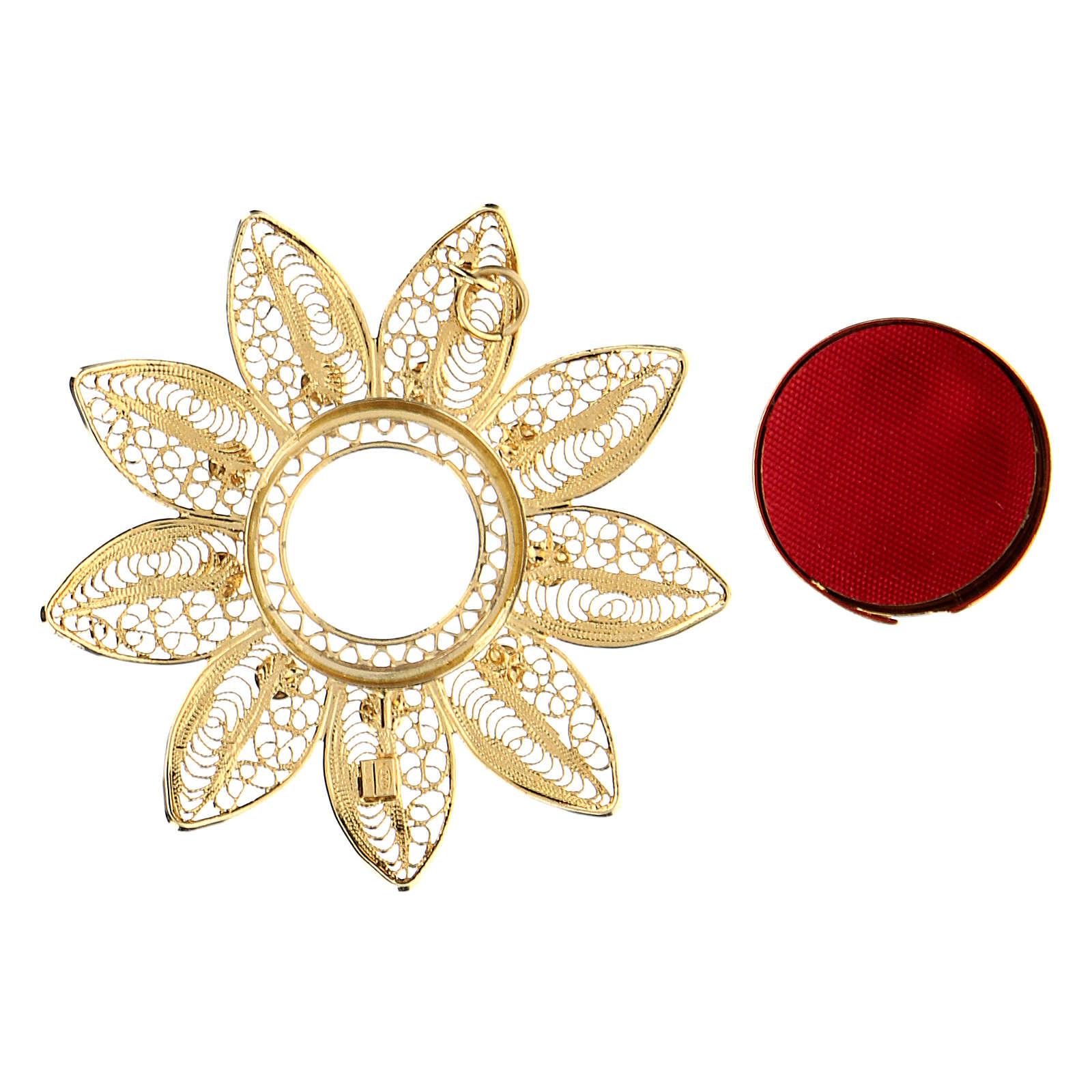Reliquiario 5 cm a forma di fiore argento dorato pietre rosse 4